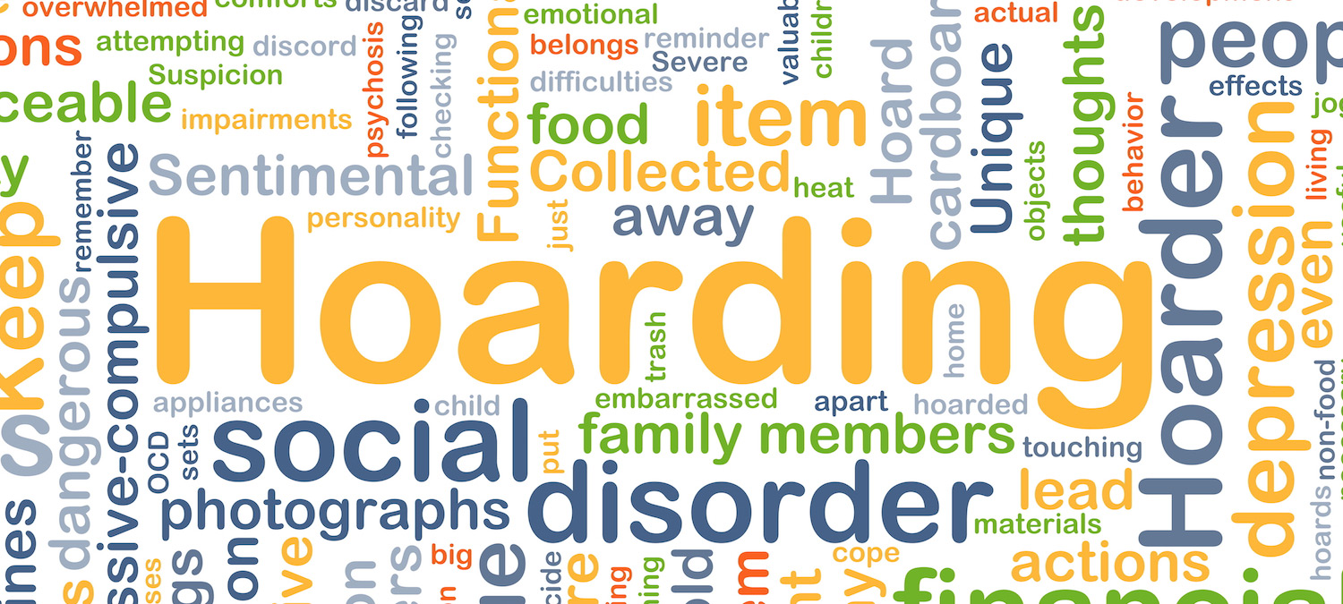A word cloud featuring words related to hoarding, including social disorder, family memebers, sentimental, depression, hoarder, and more.
